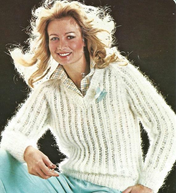 8d84f51d81d413 Knitting Pattern Ladies Woman s V Neck Mohair Lace Pattern