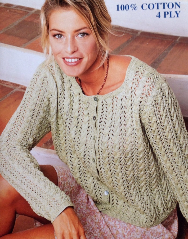 a7043ea28824e1 Ladies Women s 4 Ply Cotton Lace Cardigan Knitting Pattern