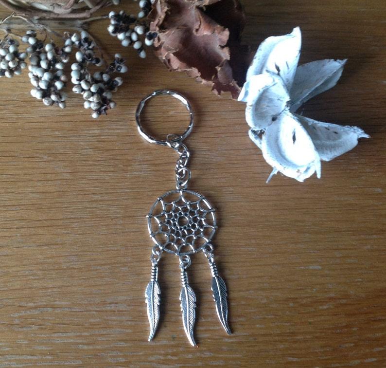 Tibetan Silver Large Dream Catcher Charm Pendant Key Ring Key Chain