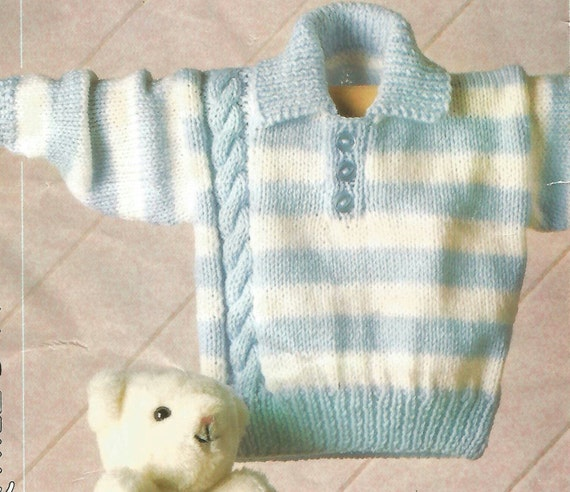 Knitting Pattern Babies ,Toddlers Children's Striped JumperSweaterPullover with Side Cable DKLight Worsted8 Ply size 16 24in 41 61cm