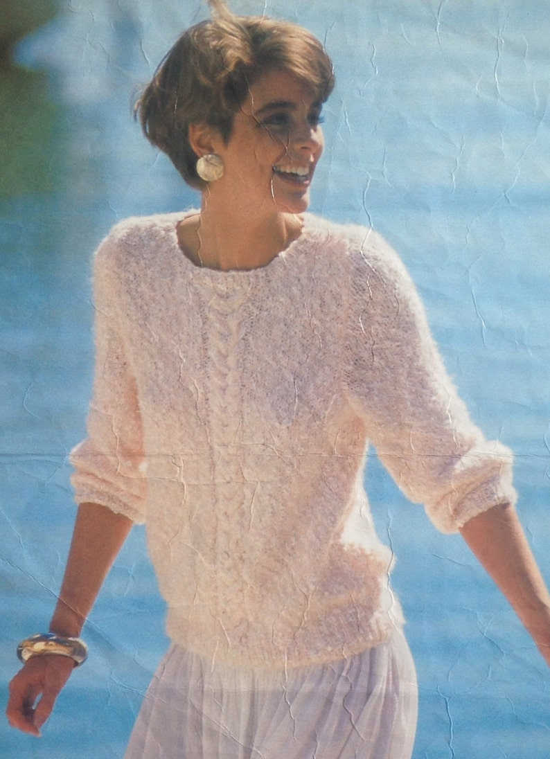 0623a1e0bfb5f2 Knitting Pattern Ladies Woman s Mohair Cable Crew Round