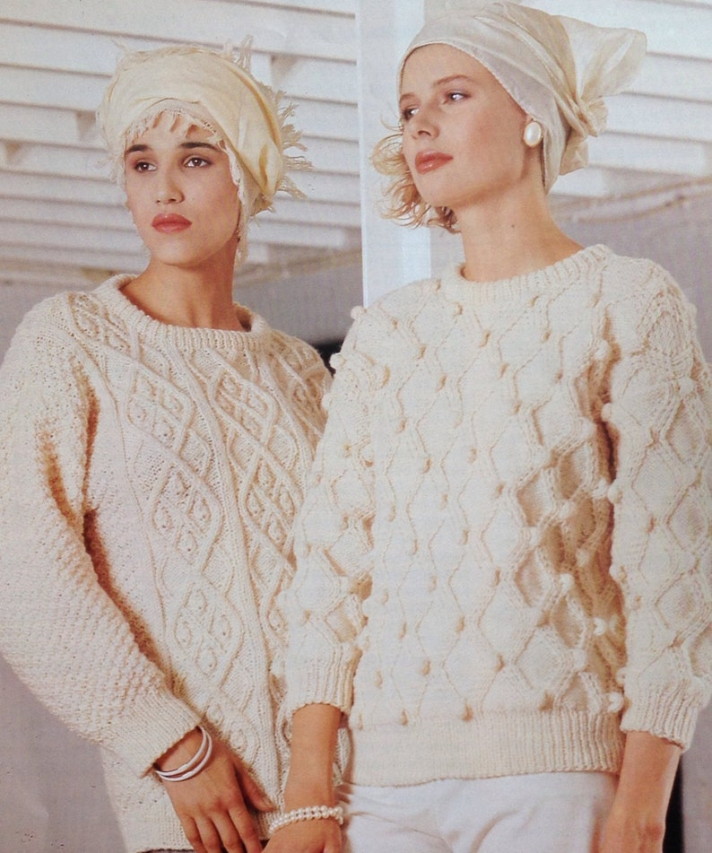 c30ce65c780f56 Knitting Pattern Ladies Women s Aran Sweater Jumper Pullover size 34-40in  86... Knitting Pattern Ladies Women s Aran Sweater Jumper Pullover size  34-40in ...