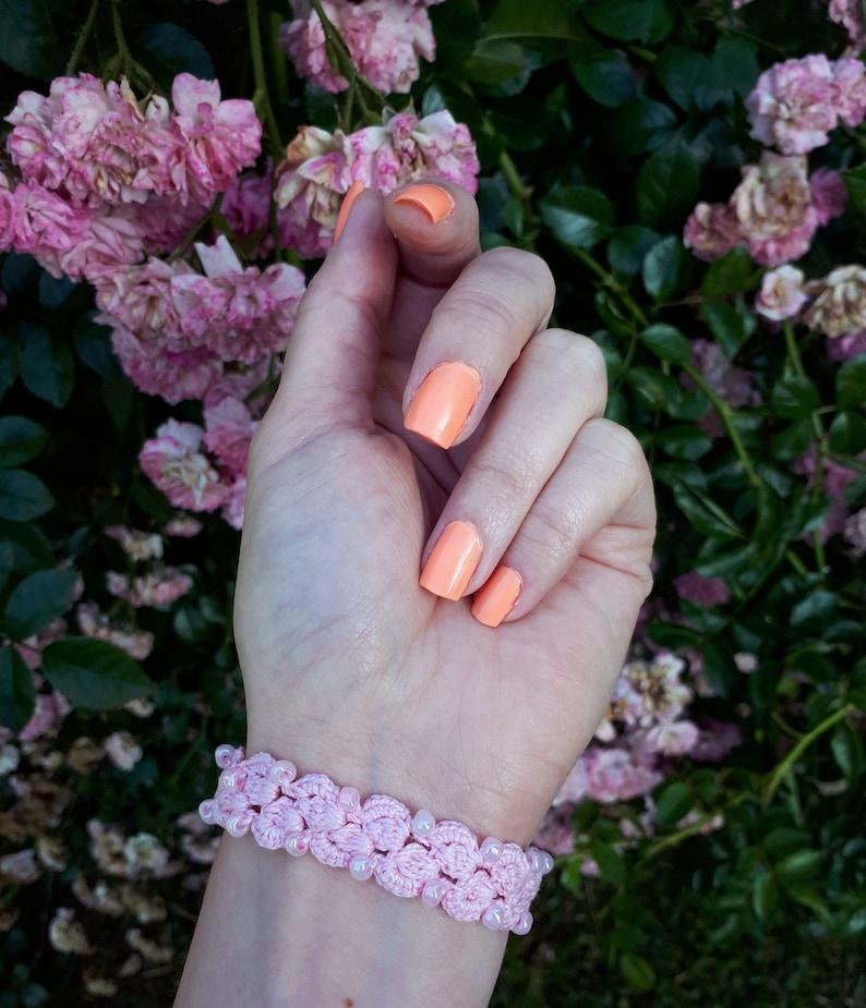Knitted Jewelry Handmade Cuff Bracelet Pink Crochet Bracelet