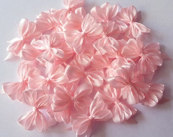 Baby Pink Satin Ribbon Bows, Bow Appliques, Baby Shower Bows, Bow Craft Supplies, Gift Wrapping Bows, Pink Decorative Bows, Wedding Bows