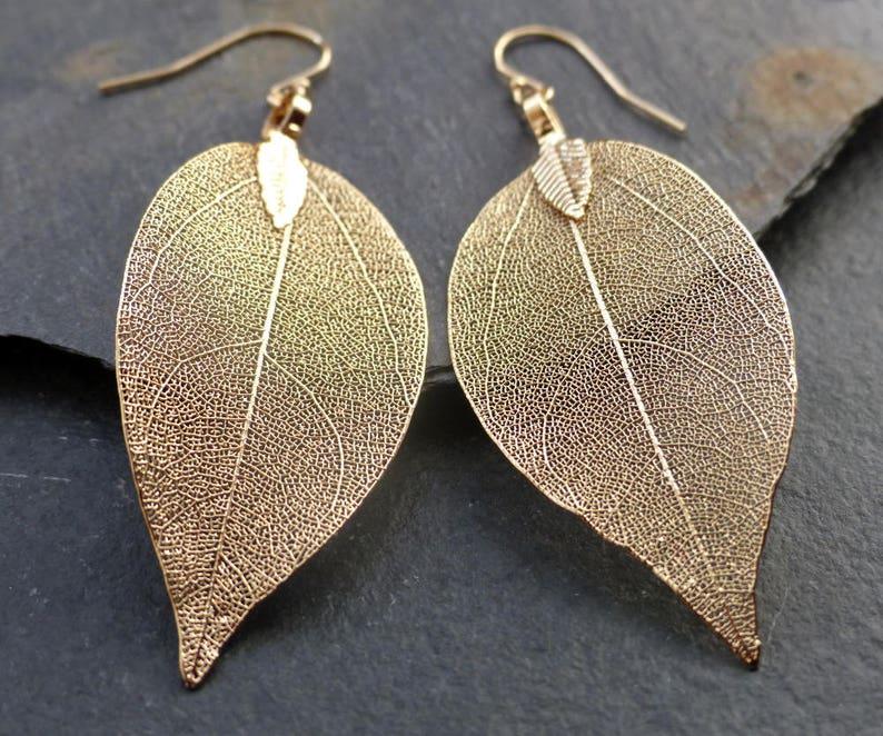 Real leaf earrings 18K gold leaf earrings dipped leaves image 1