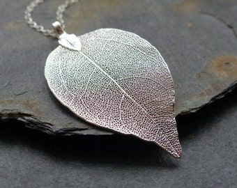 Real leaf necklace, sterling silver chain, silver dipped leaf, natural jewelry, woodland jewelry, boho necklace, long necklace, gift for her