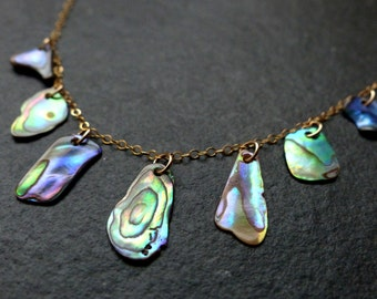 Abalone necklace, 14K gold filled, sterling silver, freeform paua shell, green, blue, natural jewelry, wedding, bridesmaid, gift for her