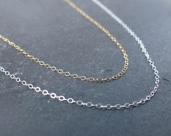 Plain necklace, any length, finished chain, sterling silver chain, 14k gold filled chain, simple chan, fine chain, layering necklace