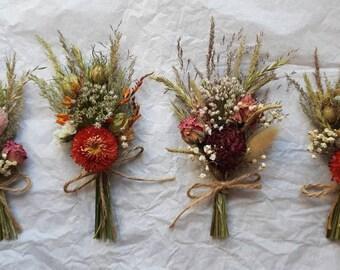 4 x dried flower posy/buttonholes