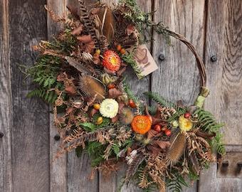 Fresh and Dried Autumn Wreath