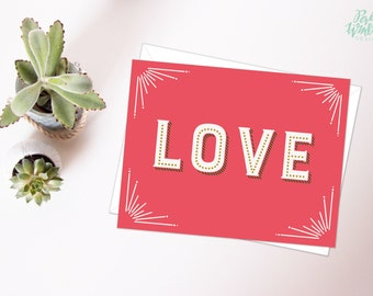 Love Valentine's Day  - Hand Lettered Card
