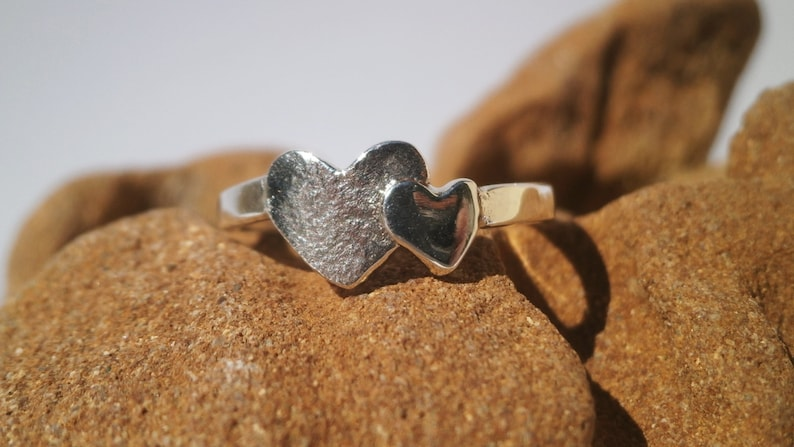 Silver Love Heart Ring Double Intersecting Hearts Ring Love Symbol Sterling Silver Ring Women gift for her Dainty Ring Two Hearts Ring