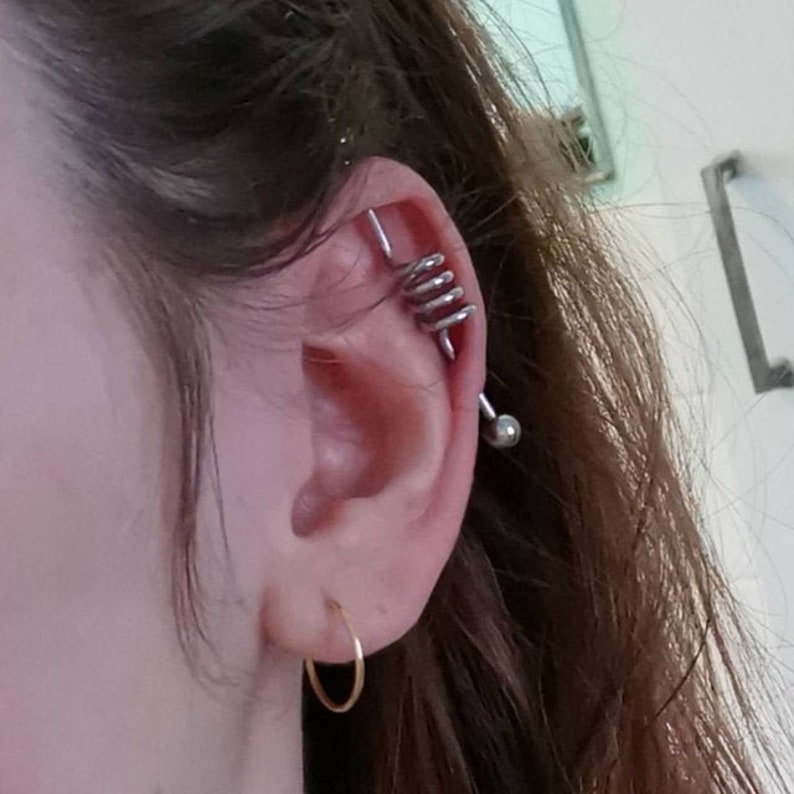 Steel Coiled Industrial Barbell Piercing Earring Stainless image 0