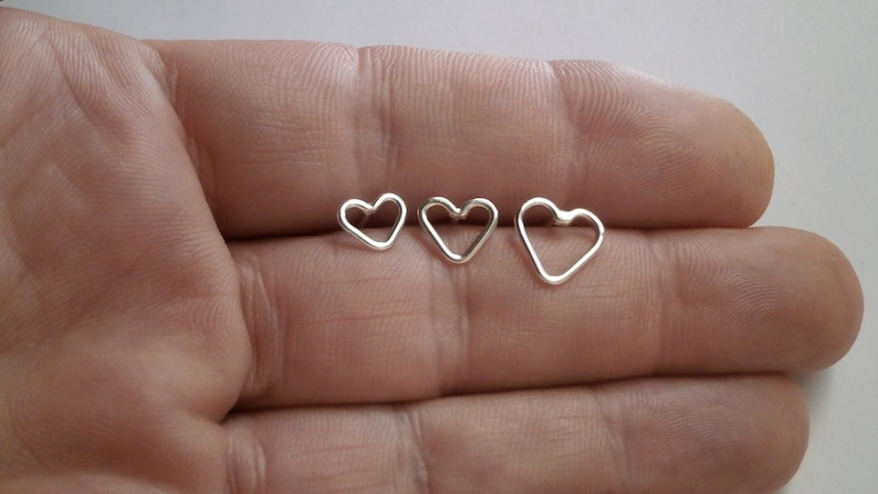 c66e38da5 Cartilage Heart Earring Tragus stud Post Earrings Sterling | Etsy