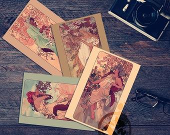 MuChat Seasons - Mucha Inspired Postcards