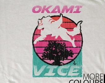 Okami Vice T-Shirt - 80s Amaterasu Inspired by Miami Vice Tee by Rev-Level