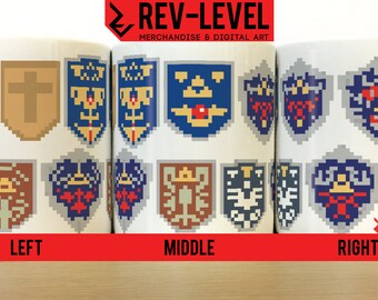 Legend Of Zelda Pixelated Shield Mug - 8Bit Hylian Shields - Link's Shield collection Cup - by Rev-Level.com