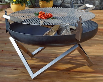 Steel Fire Pit YANARTAS (Large) with a Stainless Steel Grill BBQ