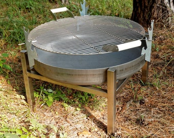 Steel Fire Pit CRATE (Tall) with a Stainless Steel Grill BBQ