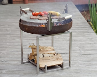 Steel Fire Pit CUBE with a Stainless Steel Grill BBQ