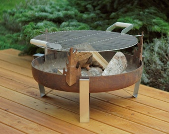 Steel Fire Pit ETNA with a Stainless Steel Grill BBQ