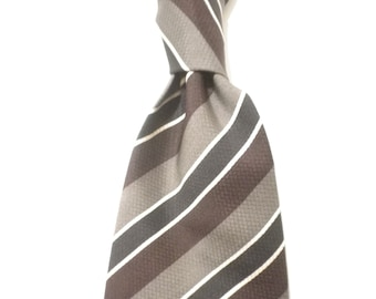 185aecfb61a Striking maroon and grey classic Regimental pure silk necktie, hand made in  England, great gift for wide variety of occasions.