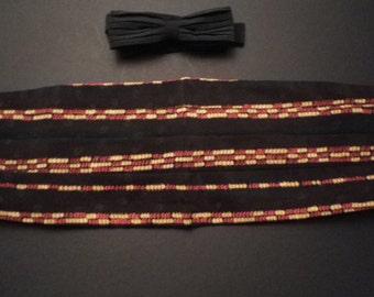 Cummerbund & bow tie set,beautiful beaded design on black jacquard  silk , elegant pleated black crepe de chine bow tie, superb present.