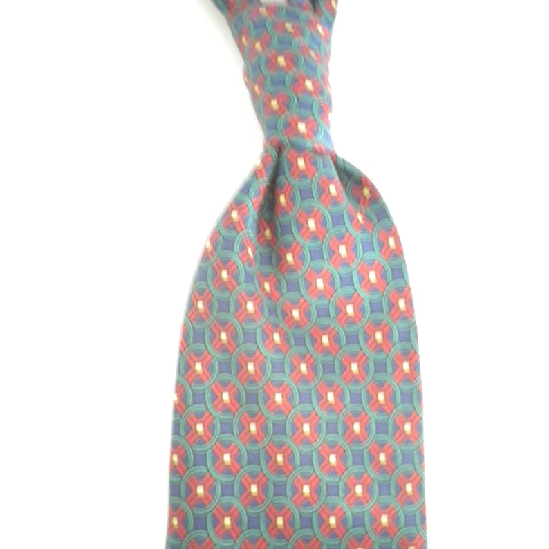 acaf79d63a26 Saxe blue ground neat red motif classic pure silk necktie   Etsy