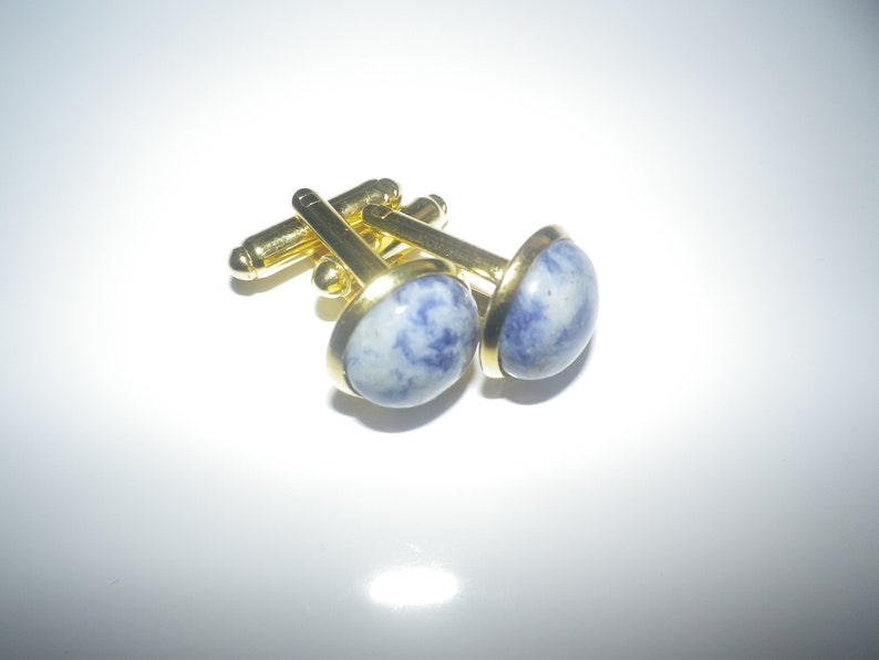 .5 lovely elegant special occasion gift. Amethyst pure gemstone cufflinks beautiful  blue grey combination gold plated shank 12mm