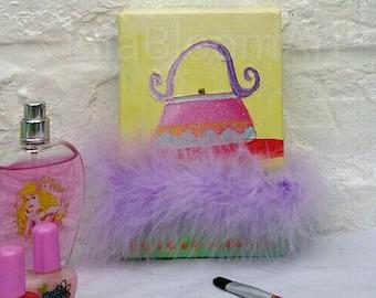 Bright colourful handbag painting, girls painting, bright painting, handbag painting, bright handbag painting,
