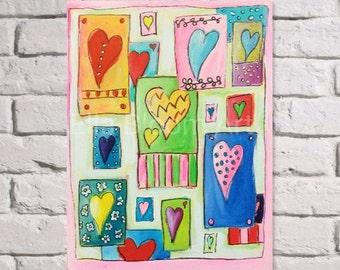 Heart painting, heart art, heart canvas, heart picture, girls art, girl's painting, girl's picture, girl's canvas, girl's heart art