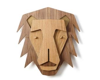Wooden Lion Head, Woodland Kids Room Decor, Wood Wall Art, Nursery Animal Decor, Lion Decor, Animal Head, Lion Wall Mount, Lion Wall Decor