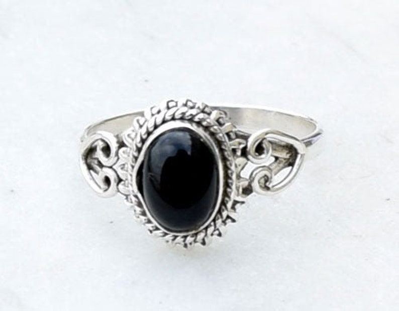 Silver Ring Statement Ring Women Ring Black Onyx 8 mm Square Gemstone Ring Sterling Silver Ring Boho Ring Onyx Ring Black Onyx Ring