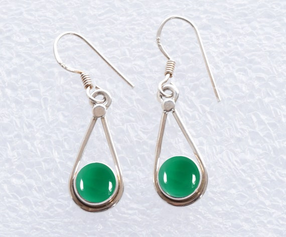 Green onyx boho earrings