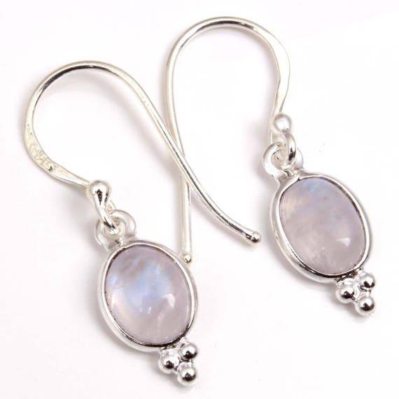 Silver Gemstone Earrings Bridesmaid Earring Rainbow Moonstone Silver Earrings June Birthstone Earrings Bezel Drop Earring J792
