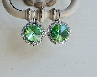 Peridot Swarovski Crystal Halo Earrings, Silver