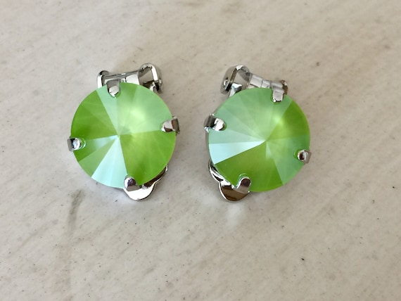 Lime Lacquer Swarovski Crystal Clip On Earrings,  Silver