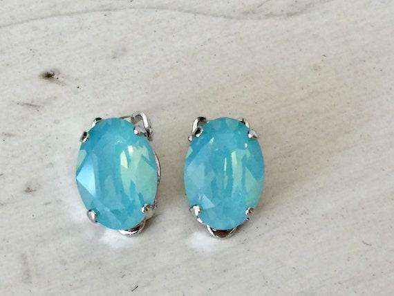 Oval Pacific Opal Swarovski Crystal Clip On Earrings, Silver
