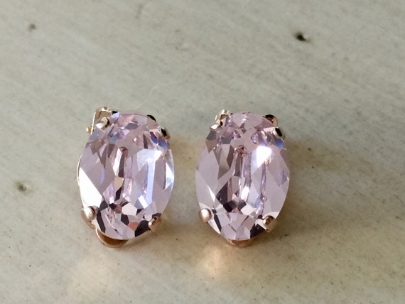 Oval Rosaline Swarovski Crystal Clip On Earrings, Rose Gold