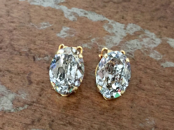Oval Gold Patina Swarovski Crystal Clip On Earrings, Yellow Gold