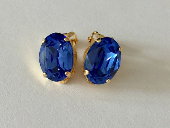 Oval Sapphire Swarovski Crystal Clip On Earrings, Yellow Gold