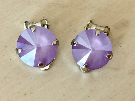 Lilac Lacquer Swarovski Crystal Clip On Earrings,  Silver