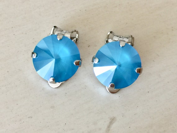 Azure Blue Lacquer Swarovski Crystal Clip On Earrings,  Silver