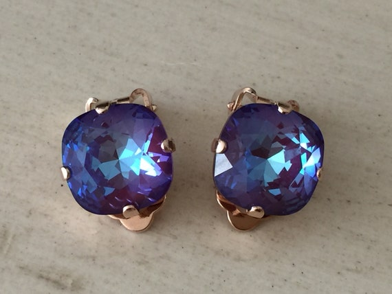 Burgundy DeLite Swarovski Crystal Clip On Earrings, Rose Gold