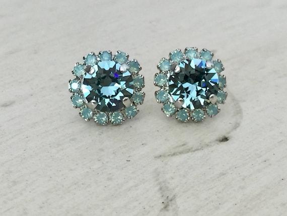 Indian Sapphire & Pacific Opal Swarovski Crystal Earrings, Silver