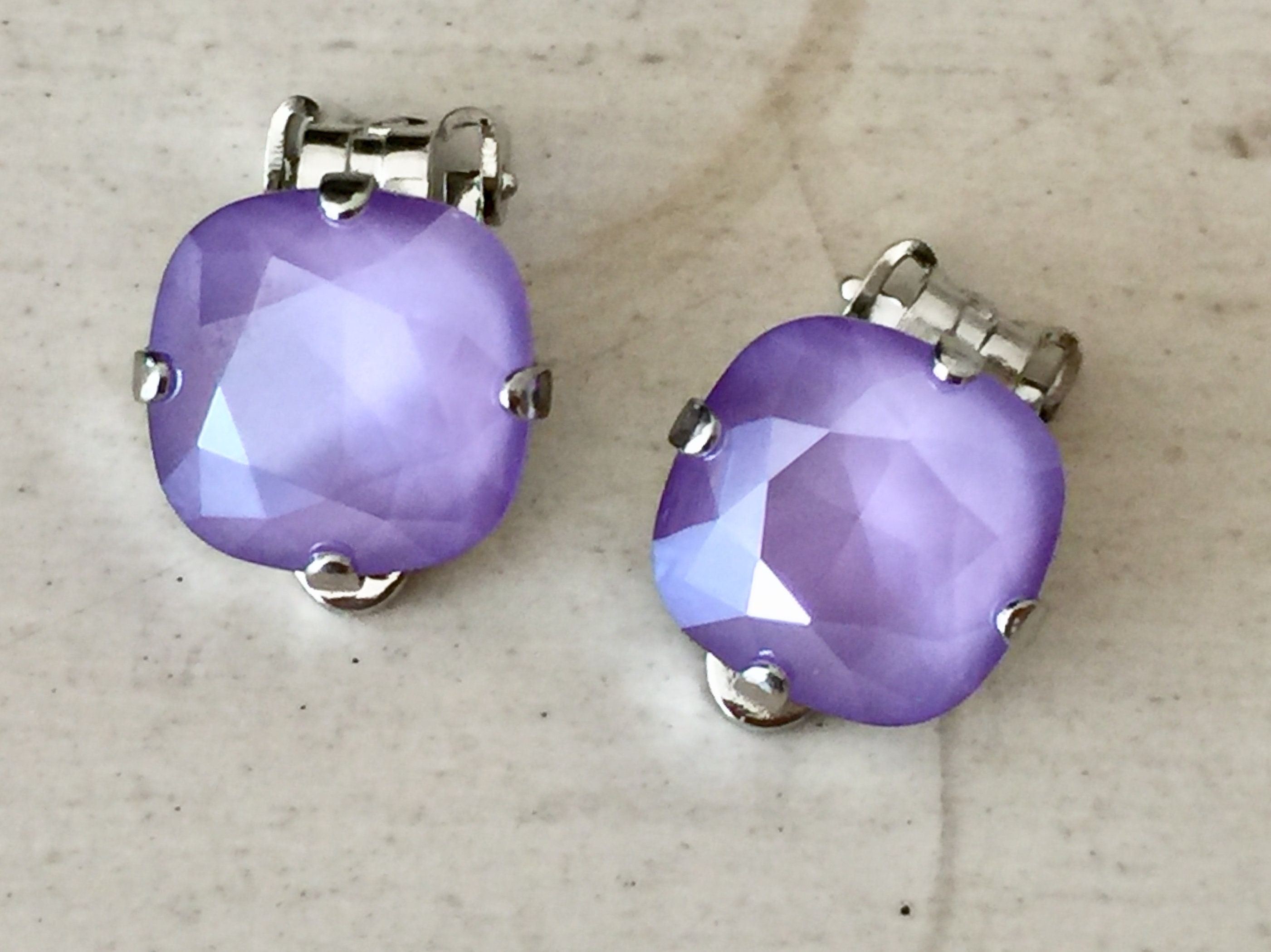 a98231d4e Lilac Lacquer Swarovski Crystal Clip On Earrings, Silver