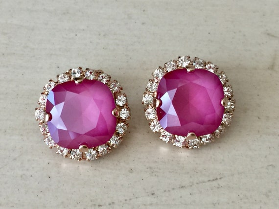 Peony Pink & Clear Swarovski Crystal Clip On Earrings, Rose Gold