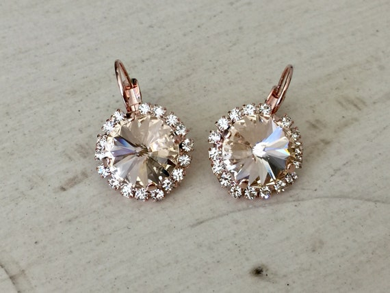 Silk Swarovski Crystal Halo Earrings, Rose Gold
