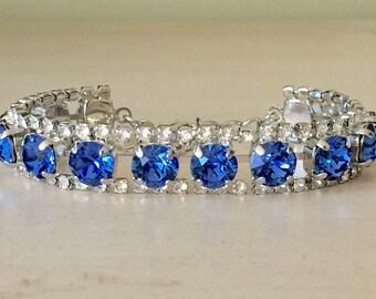 Sapphire & Clear Crystal Bracelet