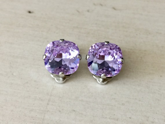 Violet Swarovski Crystal Clip On Earrings, Silver